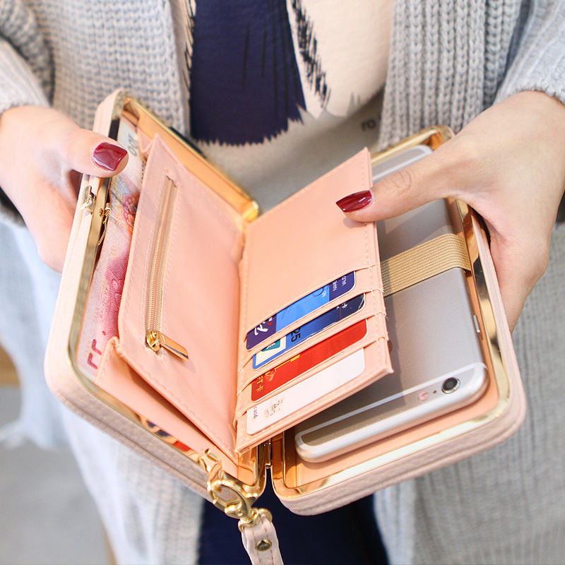 Purse bow women's wallet female famous brand card holders cellphone pocket PU