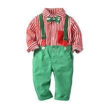 2018 Christmas Kids Clothes Sets Striped Long Sleeve T-shirt+pant 2pcs Outfit Boys Gentleman Suit Cloths