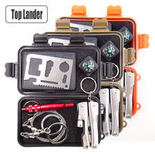 5 en 1 Kits de herramientas de supervivencia múltiples Herramientas de equipos para exteriores Senderismo Herramientas de emergencia EDC Gadgets de cajas SOS Kits de viaje Caja de autoayuda