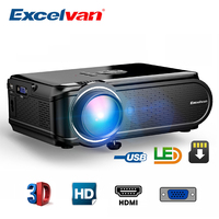 Excelvan EHD02 1800Lumen MAX 1080P Projector 130 Inch Multimedia Portable LCD Projector Home Entertainment With Stereo Speaker