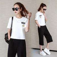 2017 New Fashion Spring Summer Women Sports Tracksuit For Women Slim Thin Print Short Sleeves Pants