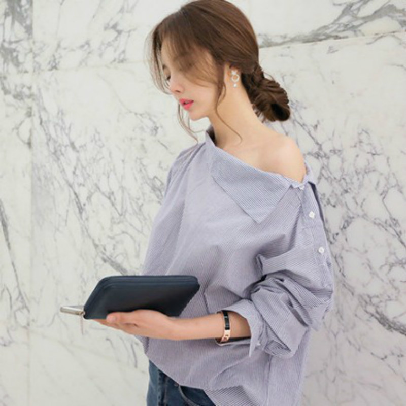 Young Zeal Womens Striped Sexy Blouse Shirt Strapless Loose Long Sleeve Women Blouses Plus Size Slash Neck Women blouse Shirts
