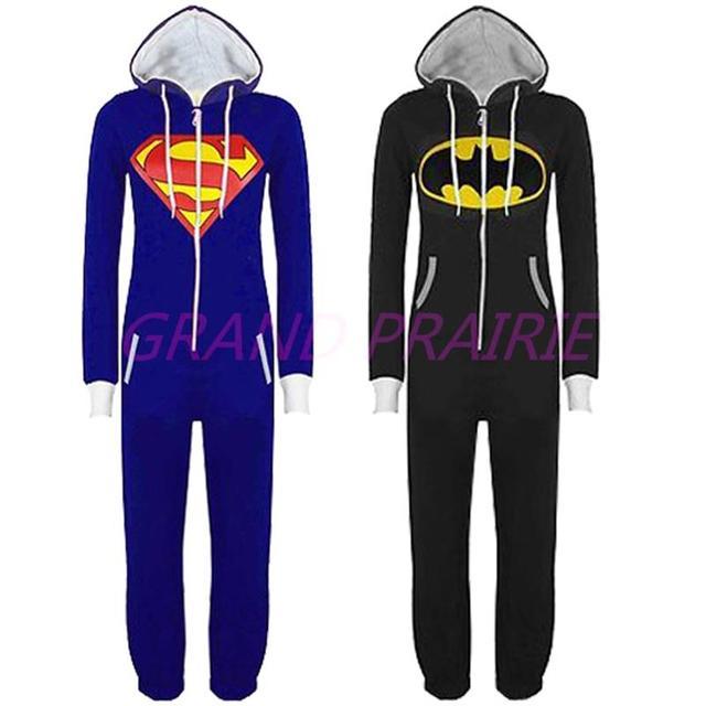 Unisex Pyjamas Superhero Adult Onesies Mens Women Batman Superman One Piece Cotton Pajamas Sleepwear  For Adults