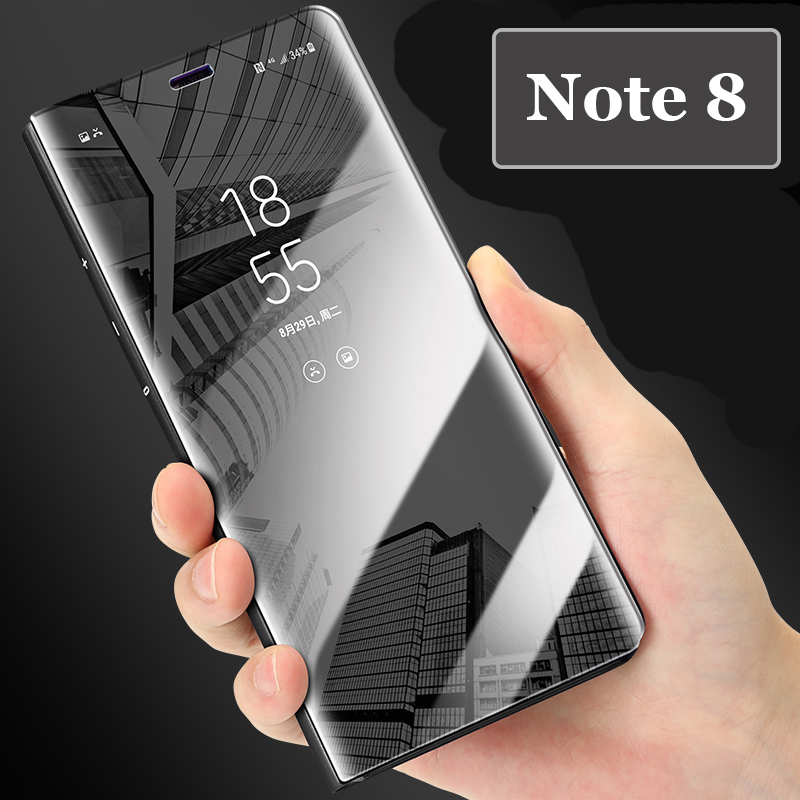 Mirror Clear View Plating Leather Stand Case For Samsung S6 S7 Edge S8 J7 Plus Note