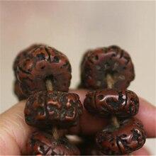 BRO575 טיבטי 108 משומן ישן Rudraksh ודהי תפילת חרוזים Mala 15 18mm לגבר