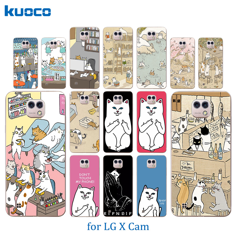 For LG X Cam Case Soft TPU Cats Family Pattern Shell For LG K580 K580DS Cover For LG X Cam K580 K580DS 5.2 inch Phone Cases
