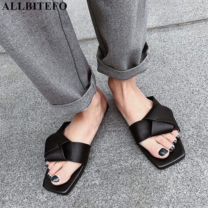 ALLBITEFO fashion brand genuine leather women shoes high quality low heeled comfortable summer women slipper women