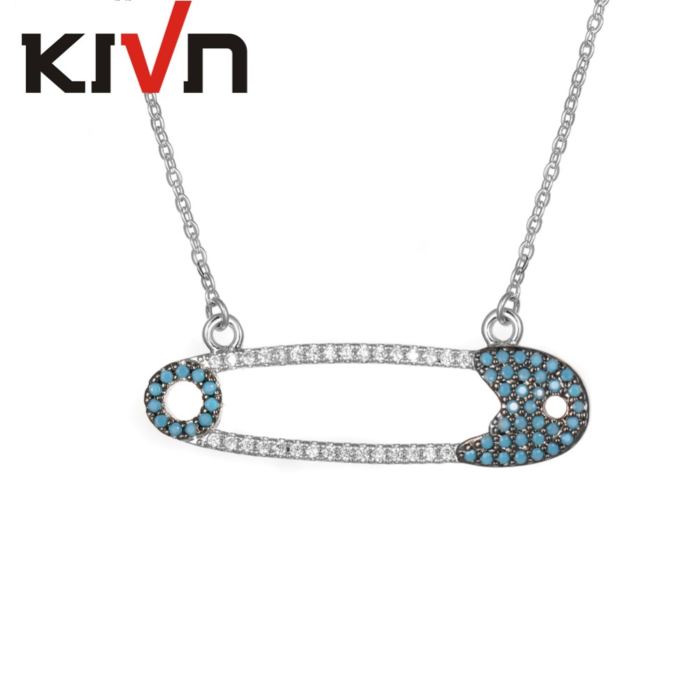 KIVN Fashion Jewelry Unique Pave CZ Cubic Zirconia Safety Pin Womens Girls Wedding Bridal Pendant Necklaces Birthday Gifts