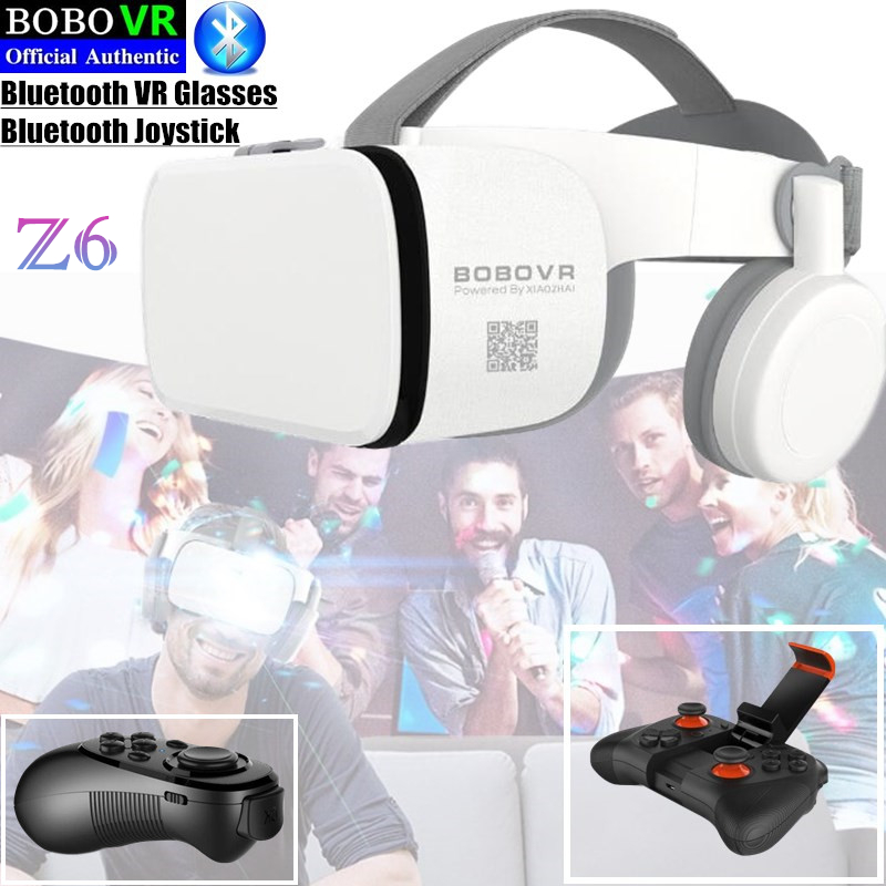BOBO VR Z6 Bluetooth 3D Glasses Virtual Reality Box Google Cardboard Stereo Mic Headset Helmet for 4.7-6.5″ Smartphone+Joystick