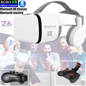 """BOBO VR Z6 Bluetooth 3D gafas Realidad Virtual caja Google cartón estéreo micrófono casco para 4,7-6,5"""" smartphone + Joystick"""