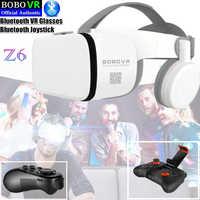Caixa de Óculos De Realidade Virtual VR Z6 Bluetooth 3D BOBO Google Papelão Stereo Mic Fone de Ouvido do Capacete para 4.7-6.5 smartphone + Joystick