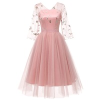 Sisjuly Women Evening Party Floral Embroidery Pink Princess Dress See Through Mesh Lace Draped Applique Beige Backless Ball Gown