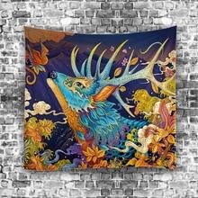 2017New стене висит Ковры Юго-Восточной Азии Ретро Мультфильм абстрактный узор 6879 Гобелены Главная Декоративные Гобелены Настраиваемые