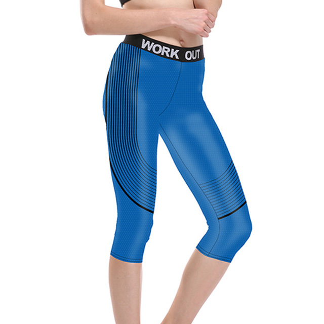 7a8faea9057 JIGERJOGER 2018 Royal blue printed black stripes Mid rise waist Active  Workout Capri Leggings Gym Outfit Stretch Tights Shorts