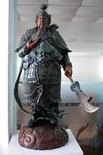 free shipping huij 007941 35 China Bronze Copper Sculpture Warrior Guan Gong Yu Dragon Buddha Sword Statue