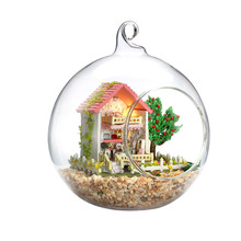DIY Doll house With Furnitures Glass Ball Micro Landscape Craft Ornament Handmade Gift Toys Mini-Sweet Thought And Wish G007 #E