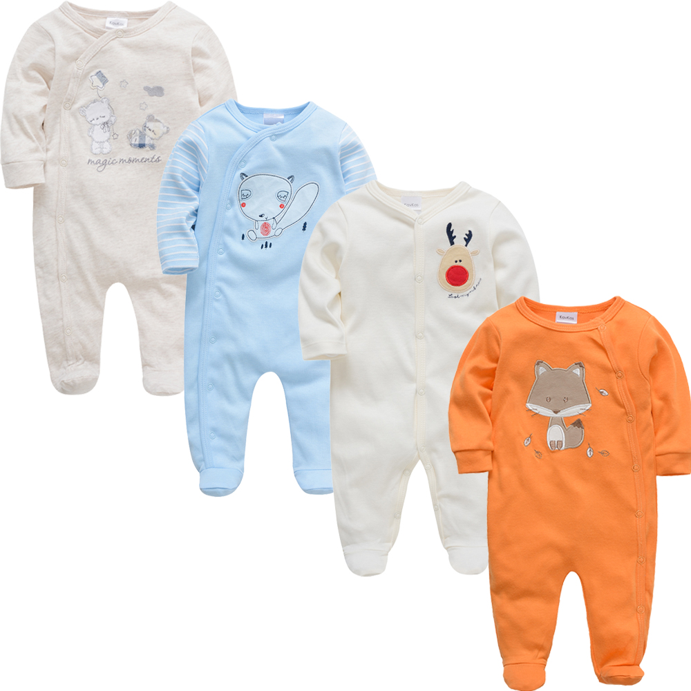 HTB1wYUnB8mWBuNkSndVq6AsApXal 2019 3 4 pcs/lot Summer Baby Boy roupa de bebes Newborn Jumpsuit Long Sleeve Cotton Pajamas 0-12 Months Rompers Baby Clothes