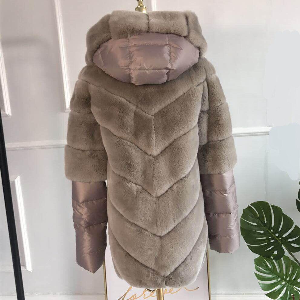 CNEGOVIK Court réel Rex de fourrure de lapin veste avec capuche