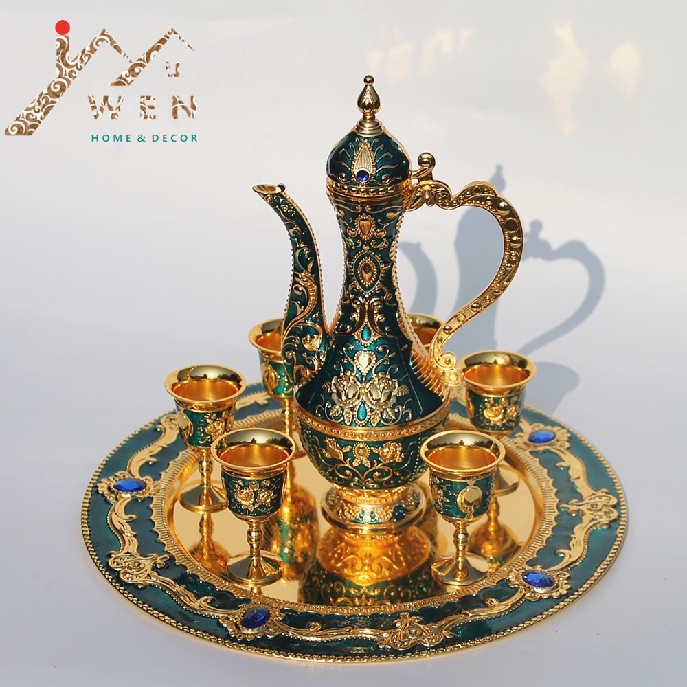 12 plate, gold & green color flower pattern metal wine set/tea set, fashion zinc alloy wine set