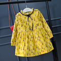 2017 new spring autumn Girls Kids Long-sleeved round collar floral dress comfortable cute baby Clothes Children Clothing 15W