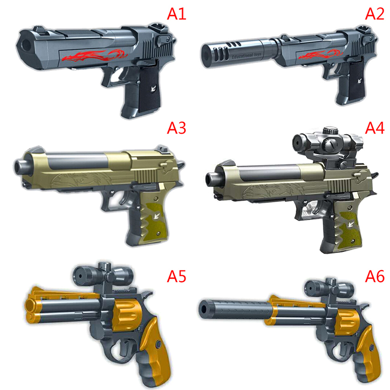 43pcsDIY  Building Blocks Toys Weapon Desert Eagle And BERETTA Revolver Wtih Bullet Plastic Pistol Model For Children's Boys