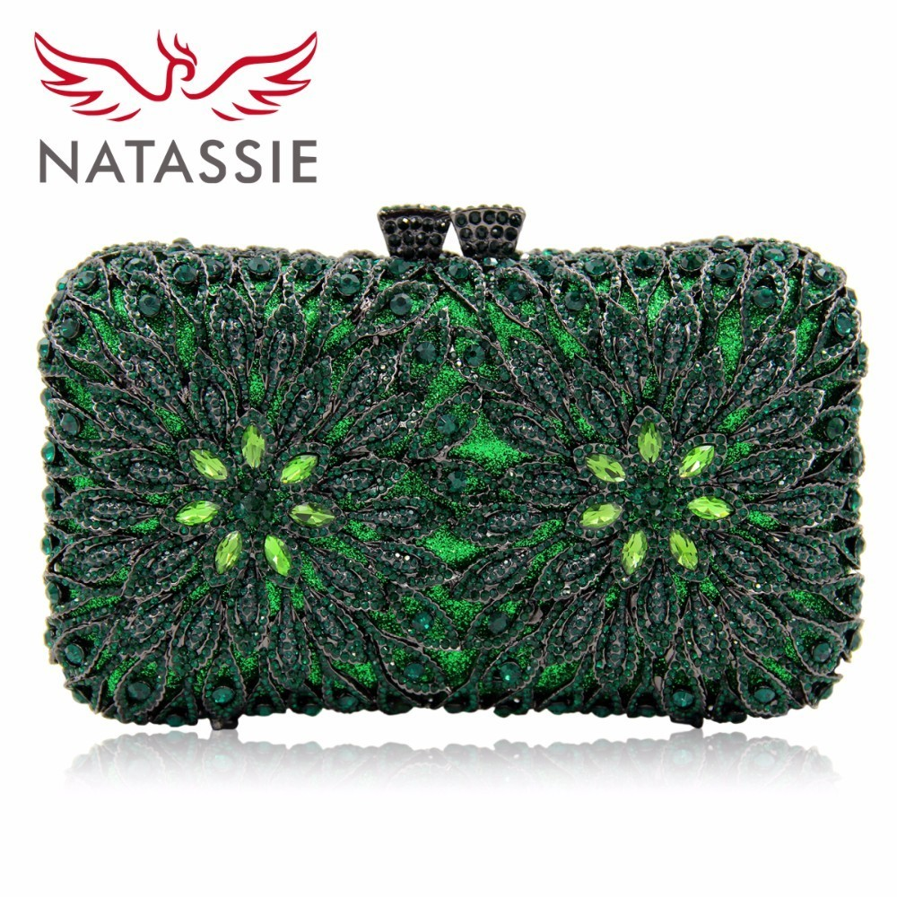 NATASSIE Women Evening Bags Full Crystal Clutch Bag Blue Party Purse Ladies Wedding Clutches With Long Chain natassie women crystal clutches bags ladies evening bag female red purple party clutch wedding purse