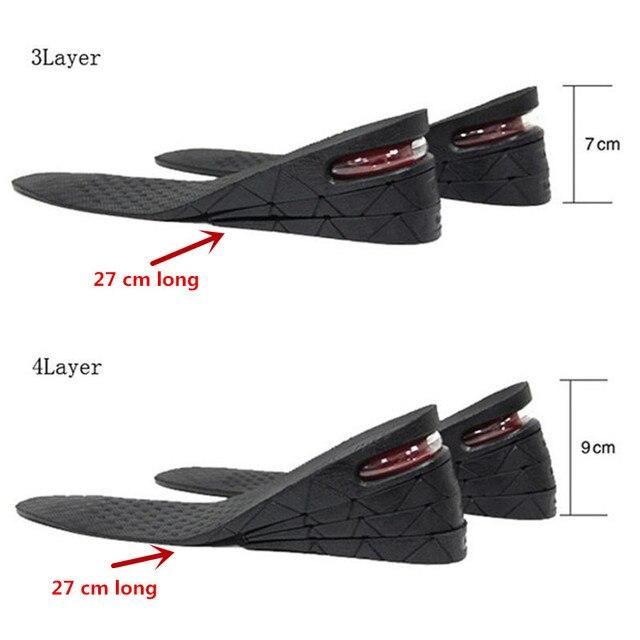 3-9 سنتيمتر نعل لزيادة الطول وسادة ارتفاع رفع قابل للتعديل قطع حذاء كعب إدراج أطول النساء الرجال للجنسين جودة القدم منصات 2