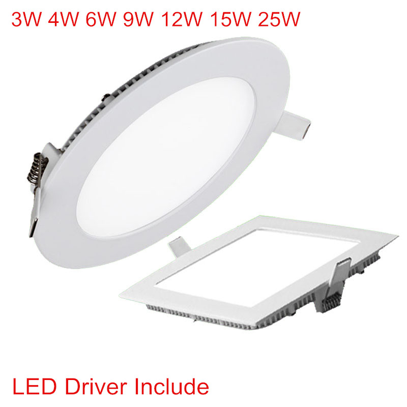 Ultra Thin Led Downlight 3W 4W 6W 9W 12W 15W 25W Round Square LED Panel Recessed Light 85-265V LED Ceiling Spot Lamp For Indoor
