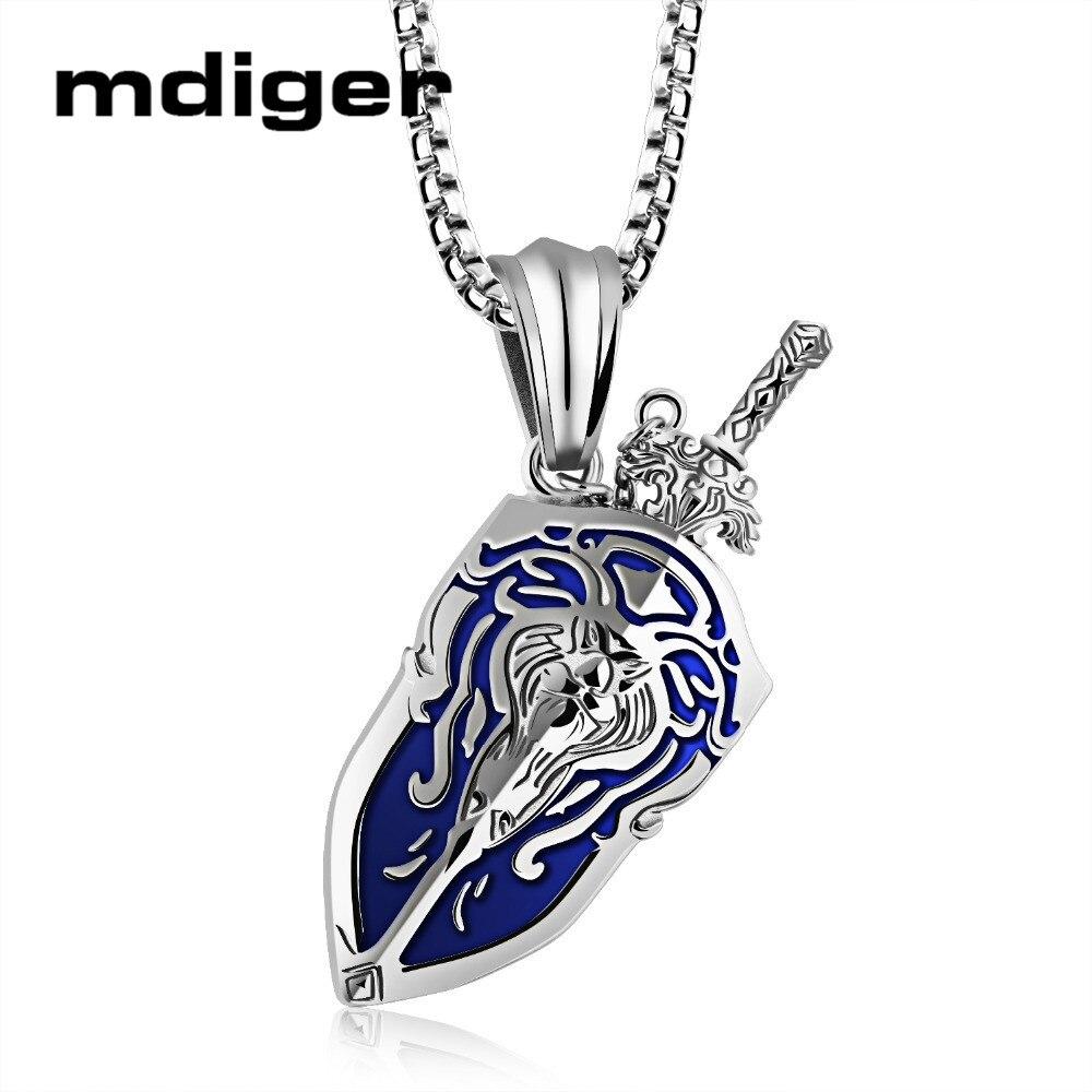 Mélange 3 PCS/LOT Warcraft épée bouclier pendentif collier pendentif en acier titane longue chaîne collier jeux accessoires