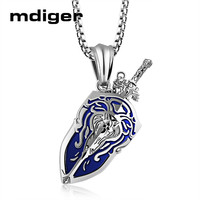 Mdiger Mixed 3 PCS/LOT Warcraft Sword Shield Pendant Necklace Titanium Steel Pendant Long Chain Necklace Games Accessories