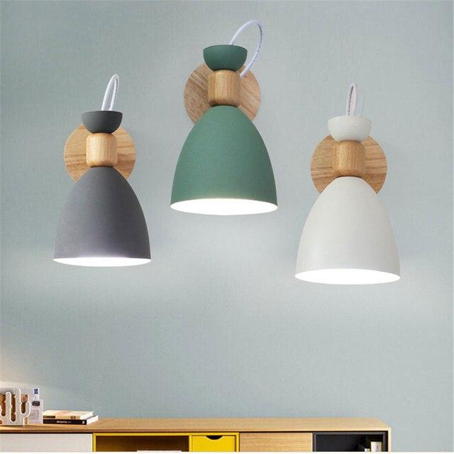 Lampe murale nordique en bois massif, lampe de chevet créative et simple, pour salon, escalier, hôtel, allée, chambre à coucher