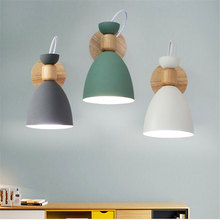 Nordic creative simple personality solid wood wall lamp living room staircase hotel aisle bedroom bedside sconce lamp