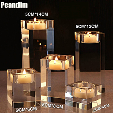 PEANDIM Elegant Simple Home Decorations K9 Crystal Candlestick Table Centerpieces Wedding Anniversary Crystal Candle Holder