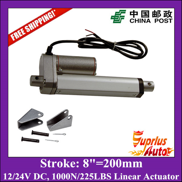 Free Shipping DC 12V/24V 8inch/200mm electric linear actuator, 1000N/100kgs load linear actuators with mounting brackets