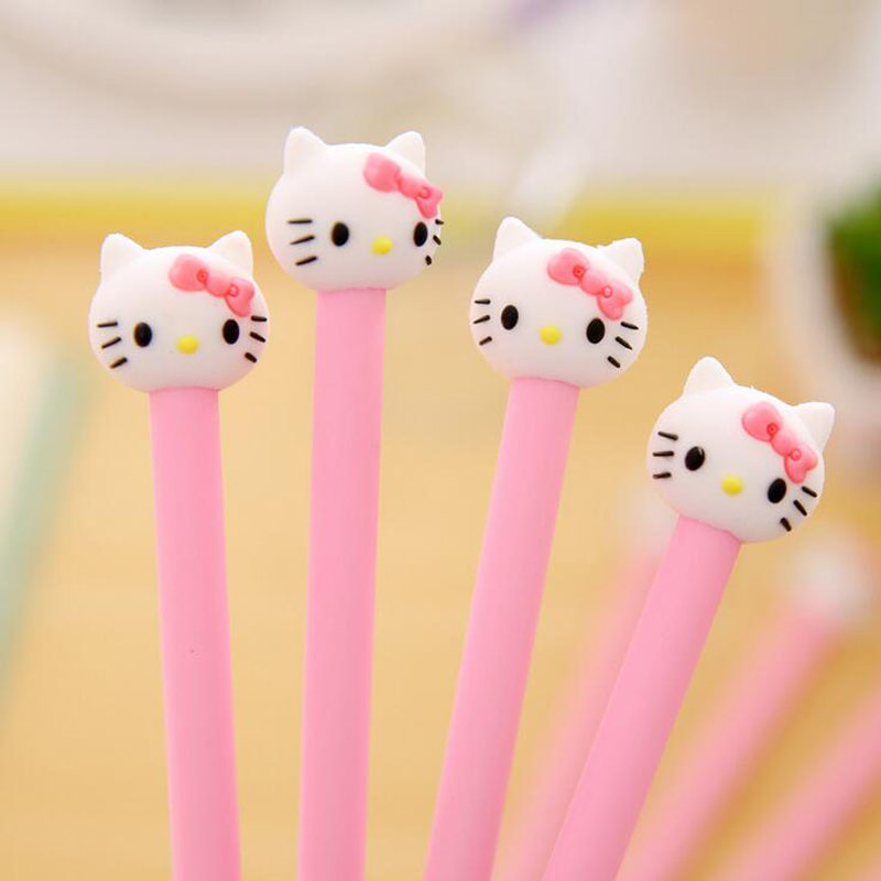 Y26 4X Cute Kawaii Silicone Head Hello Kitty Gel Pen Writing Signing Pen School Office Supply Kid Student Stationery Black 0.5mm