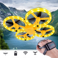 Four Axis Mini Drone Smart Watch Remote Sensing Gesture Interaction Pneumatic High Altitude Aircraft Rc Toys with Led Lights