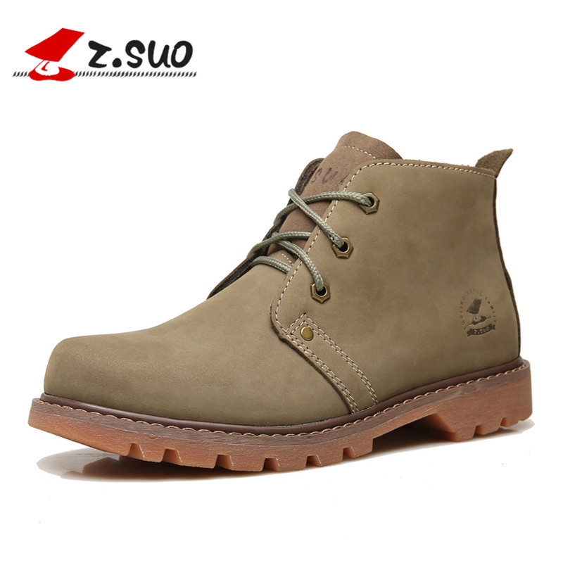 Z. Suo Men's Ankle Boots Genuine Leather Fashion Short Boots Man Spring Men Boots Ankle Tooling Leather Sapatos Mas botas hombre цена