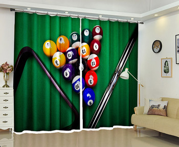 Billiards Window 3D Curtains Drapes For Bedroom Living room Office Hotel Home Decorative Wall Tapestry Custom Size