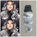 "Full Shine One Bundle Brazilian Remy Hair 1B Silver Gray Ombre Color Body Wave Virgin Hair Weave Human Hair Bundles 10"" to 26"""