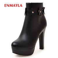 ENMAYLA 2020 Boots women comfortable fleeces pointed toe platform boot high heel ankle boots lady zip flower boots ZYL552