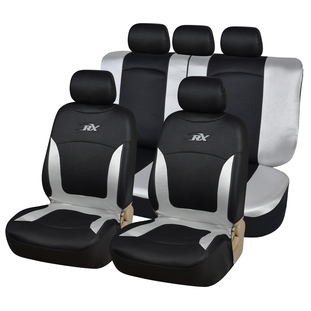 LDDCZENGHUITEC Sliver Embroidery Car Seat Covers Set Universal Fit Most Cars Covers with Detail Styling Car Seat Protector