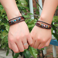 2 Pics New lovers leather punk bracelets bangles pulseras hombre love pulseiras masculinos couro pulceras braclets man women