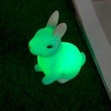 الإبداعية الجدة الأطفال طفل لصالح هدية لعبة الكرتون الحيوان الأرنب النوم LED الجدول ليلة ضوء أرنب مصباح تغيير اللون