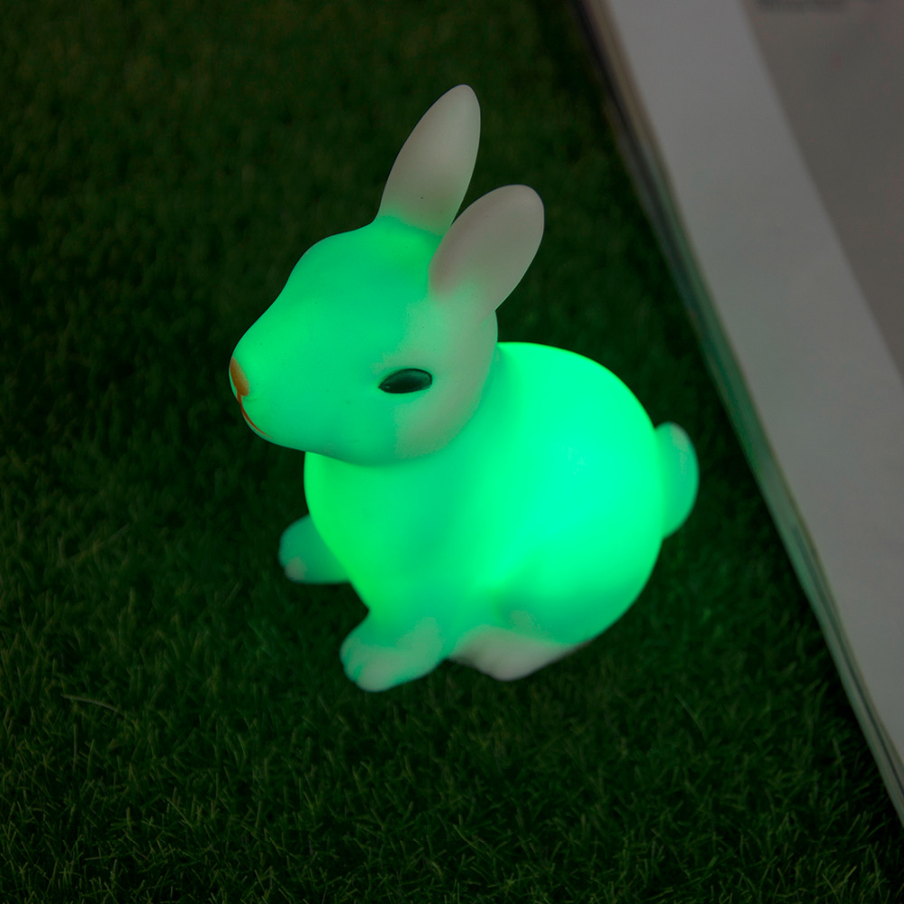 LED Night Light Animal Cartoon Color Changing Rabbit Decorative Lamp Adorable For Children Baby Kids Gift Home Party
