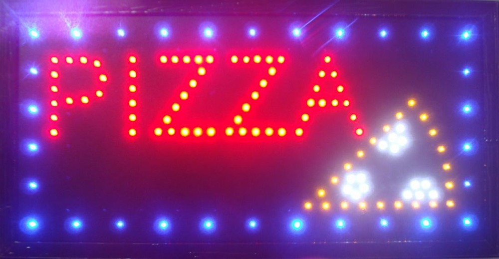 2017 hot sale customed 10x19 inch semi-outdoor pizza store Ultra Bright running led display sign