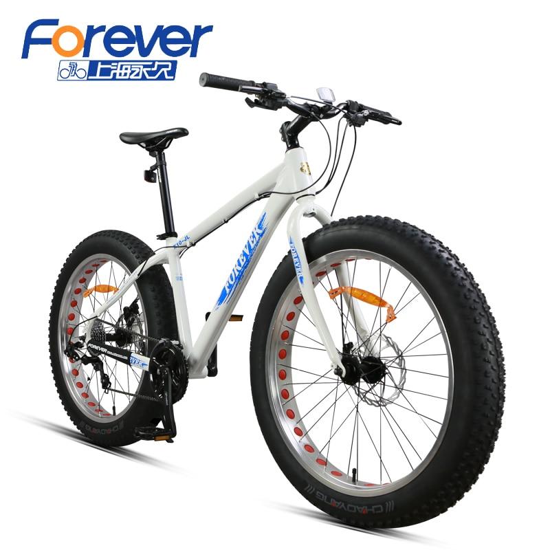 Навсегда горный велосипед рамка алюминиевого сплава снег велосипедов двойной дисковые тормоза большой Покрышки пляж велосипед 24 Скорость ...