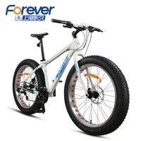 Forever Mountain Bike Aluminum Alloy Frame Snow Bicycle Double Disc Brakes Big Tires Beach Bike 24