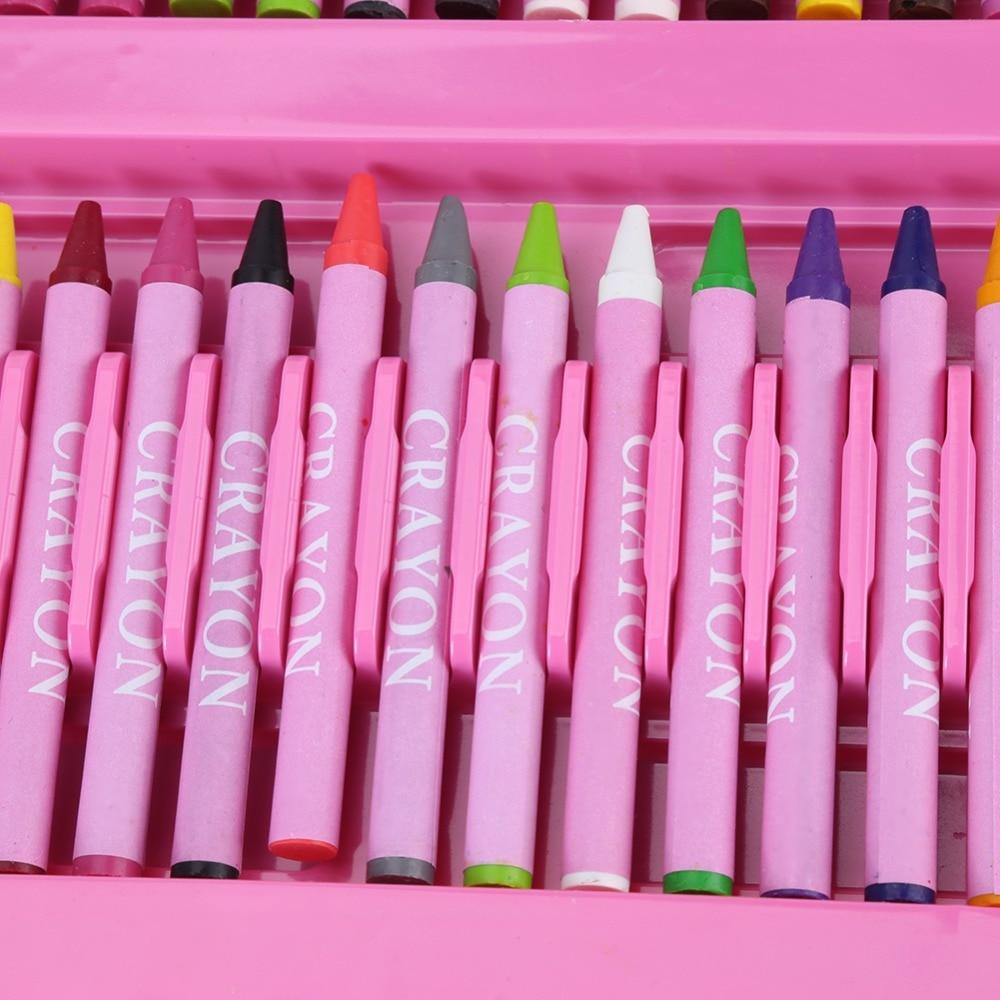 Art bricolage dessin huile Pastel Crayon couleur enfants Crayon marqueur stylo gomme brosse peinture ensemble Kit rose croquis ensemble dessin crayons