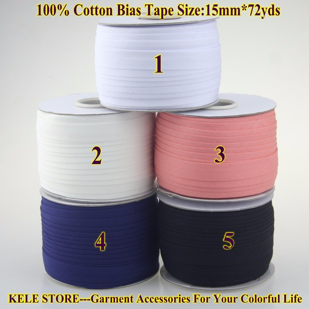 Free Shipping --Cotton Bias Tape Size: 15mm72yds  White For DIY Making, Garment Accessories Tailors Material For Home Textile