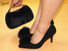 Sexy black party poited toe thin heel shoes and purse set fashion design shoes with handbag A168-12 heel height 8.5cm